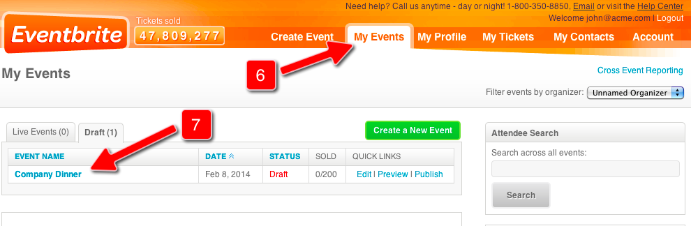 Screenshot of Eventbrite Control Panel for Steps 6 and 7