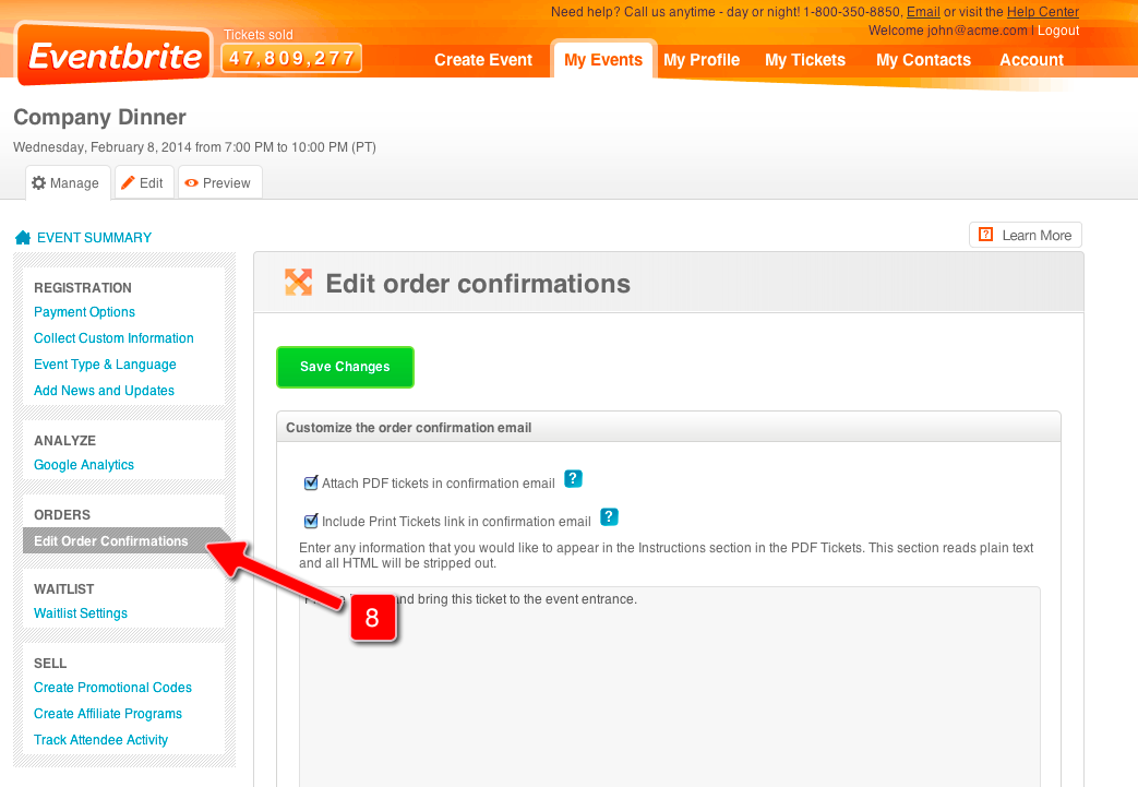 Screenshot of Eventbrite Control Panel for Step 8