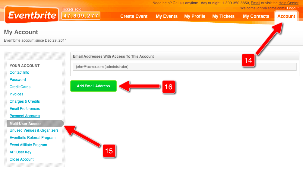 Screenshot of Eventbrite Control Panel for Steps 14 to 16